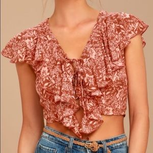 Amuse Society Solana Rust Floral Lace Up Crop Top